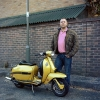 "Tom Sebastiano ""Mr. Grieve with his yellow Lambretta"""